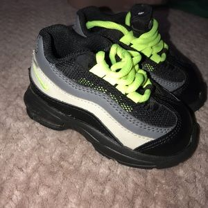 Neon Green and black Nike toddler sneakers